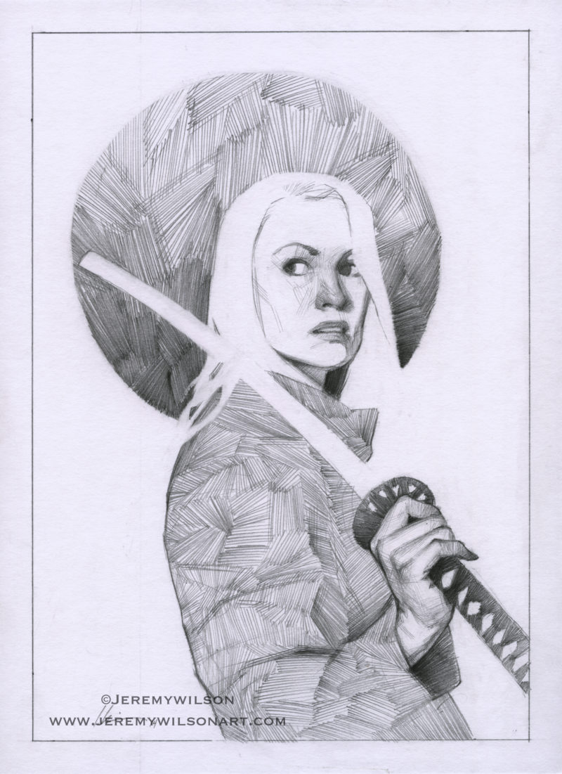 woman, warrior, samurai, sword, leather jacket, badass, pencil, graphite