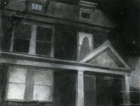 horror, house, ghost, scary, charcoal, chalk