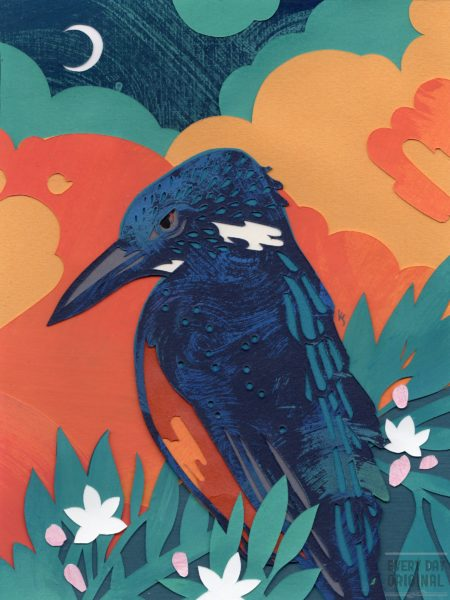 Azure Kingfisher and Waxflowers by Kevin Jay Stanton