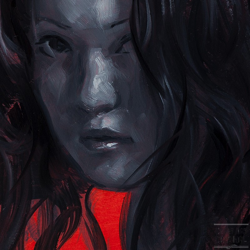Monochrome Woman on Red #1 detail