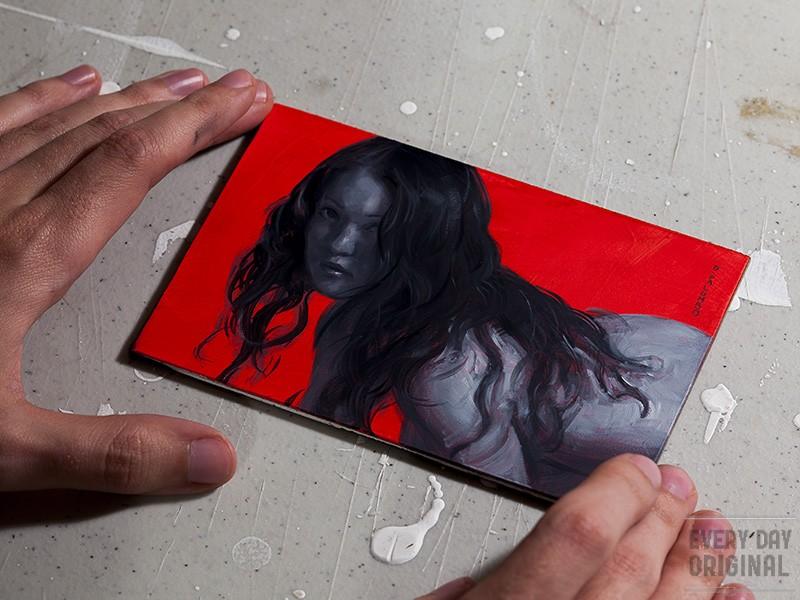 Monochrome Woman on Red #1 original