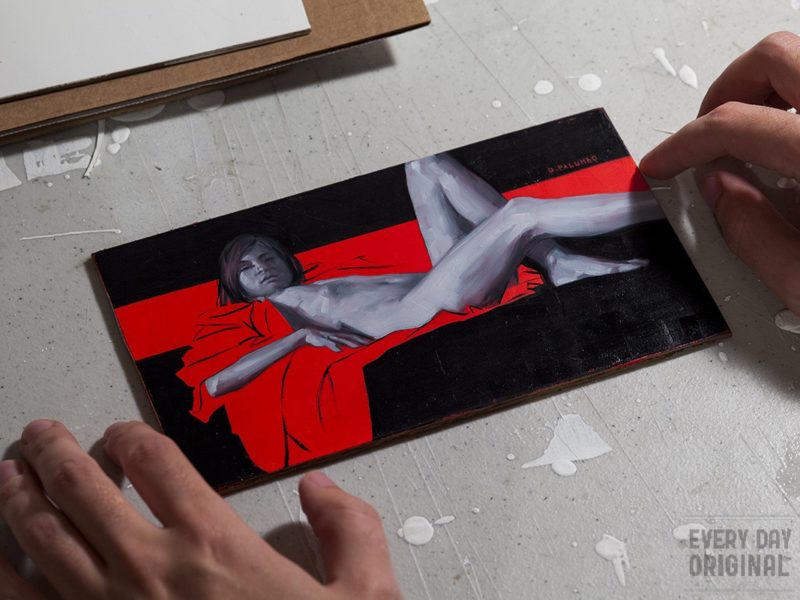 Monochrome Woman on Red #3 original