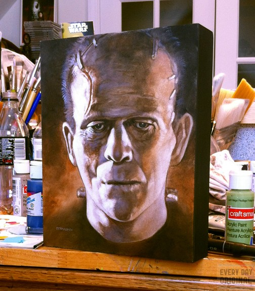 Photo of the painting on woodblock in Dorman's studio