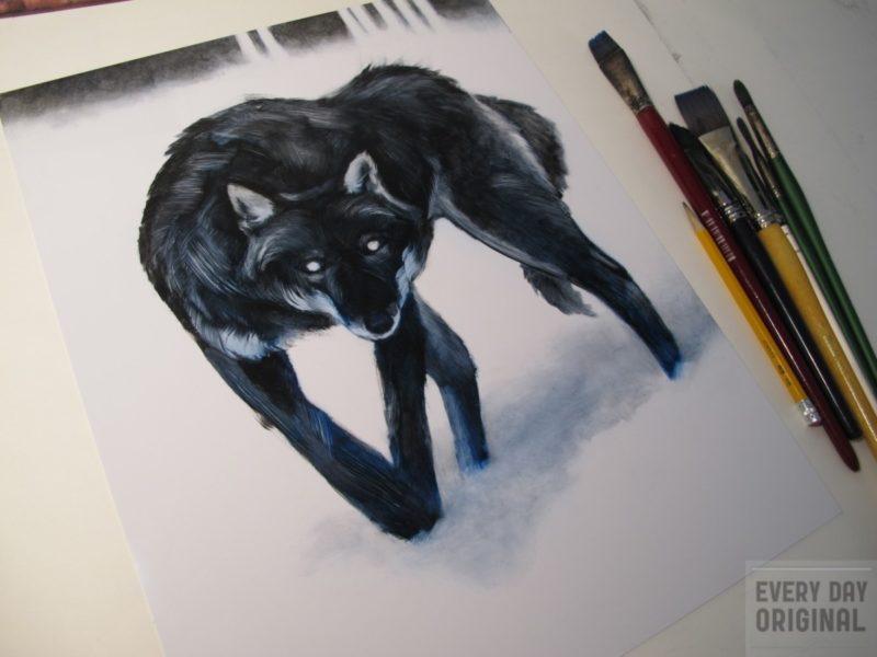 Beneath Savage Skies Wolf Painting