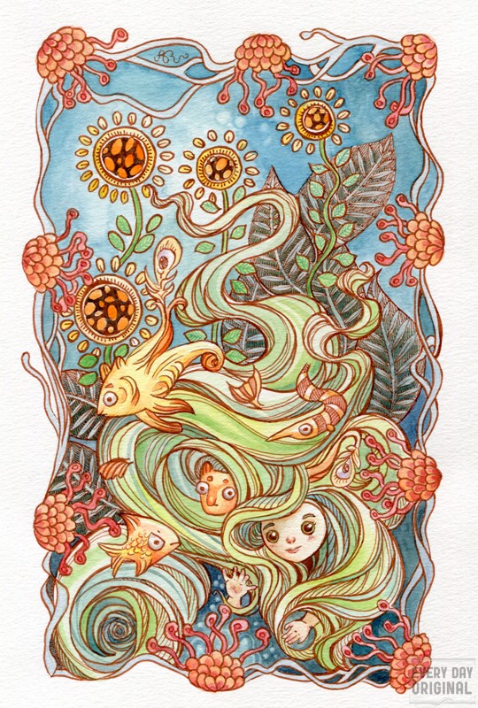A watercolor painting by Ania Mohrbacher of green haired girl with critters.