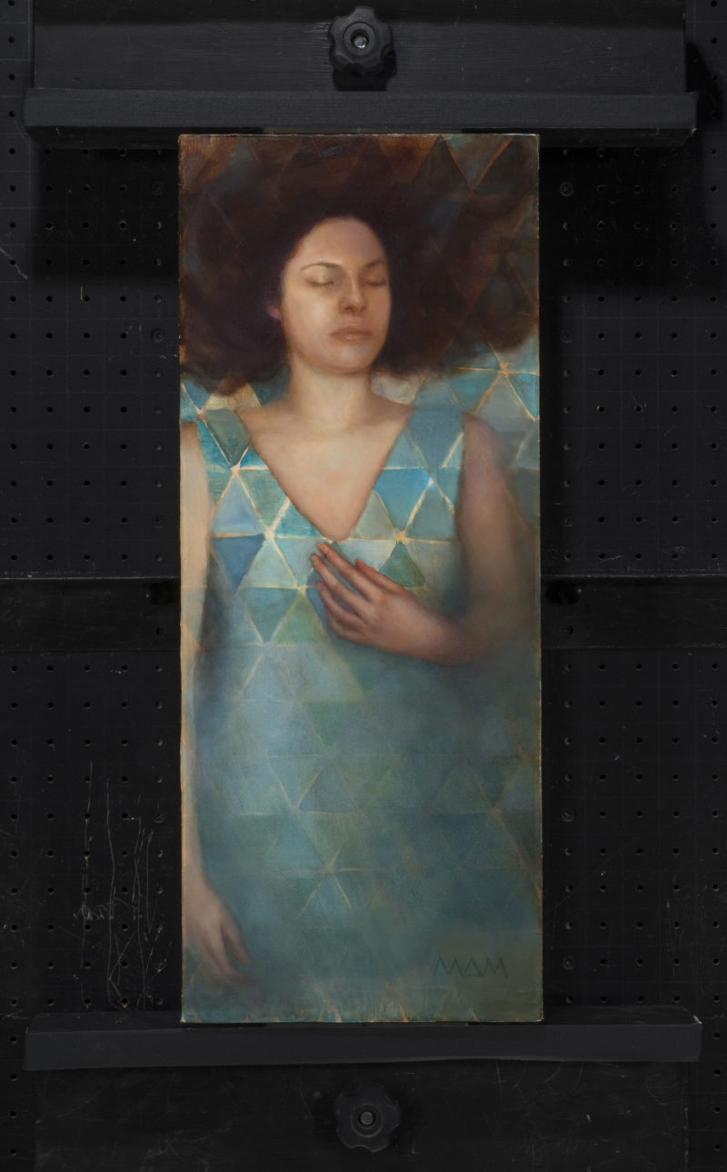 oil painting of woman floating in meditation