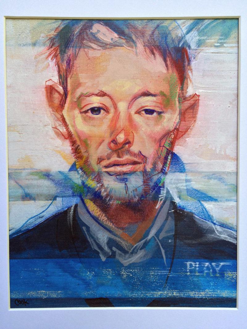 Portrait of Thom Yorke, artwork by Bud Cook