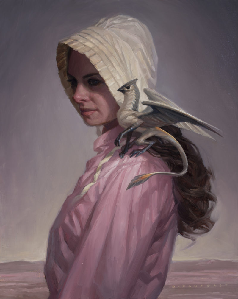 Oil painting by Ryan Pancoast of a frontier girl and a dragon.