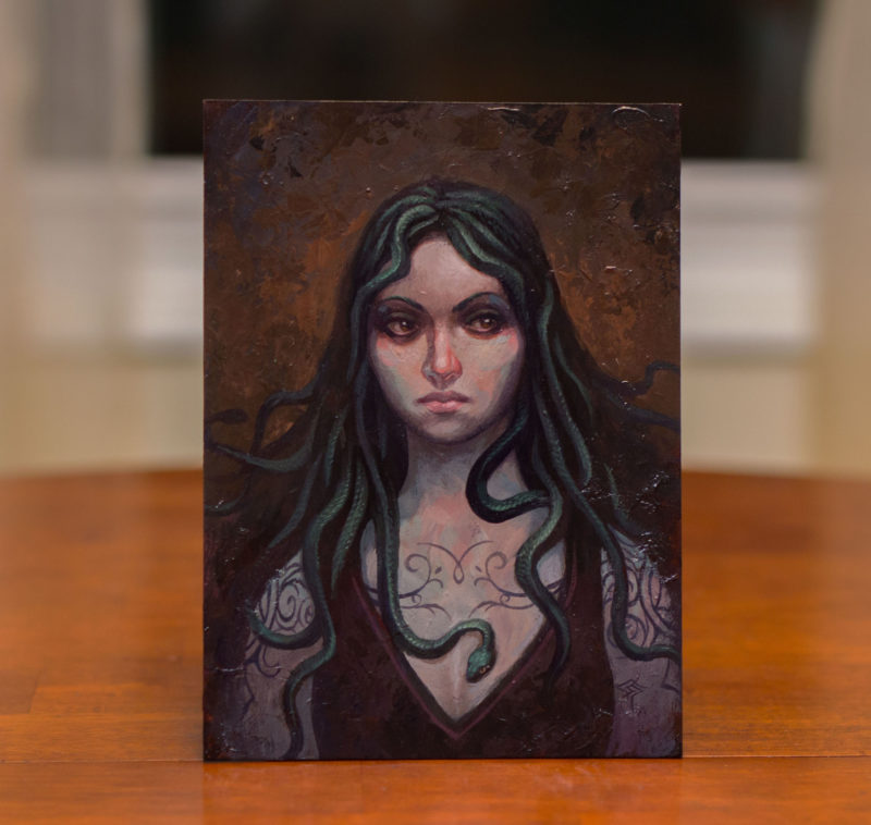 A portrait of a young, contemporary gorgon.