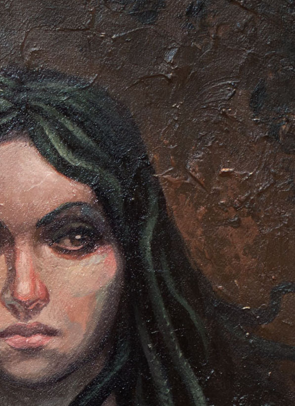 A detail of the young, contemporary gorgon.