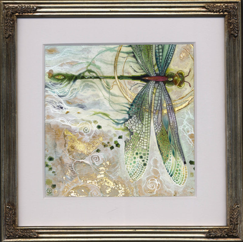 Watercolor painting by Stephanie Law - dragonfly - damselfly - insecta - Glint