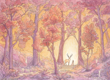A whimsical watercolor painting by Naomi VanDoren of a girl and a stag.