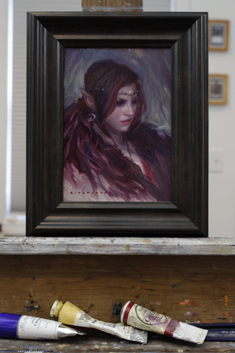 An oil painting by Ryan Pancoast of a female elf.