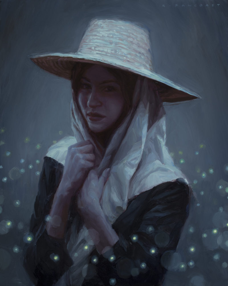 An oil painting by Ryan Pancoast of a woman and fireflies.