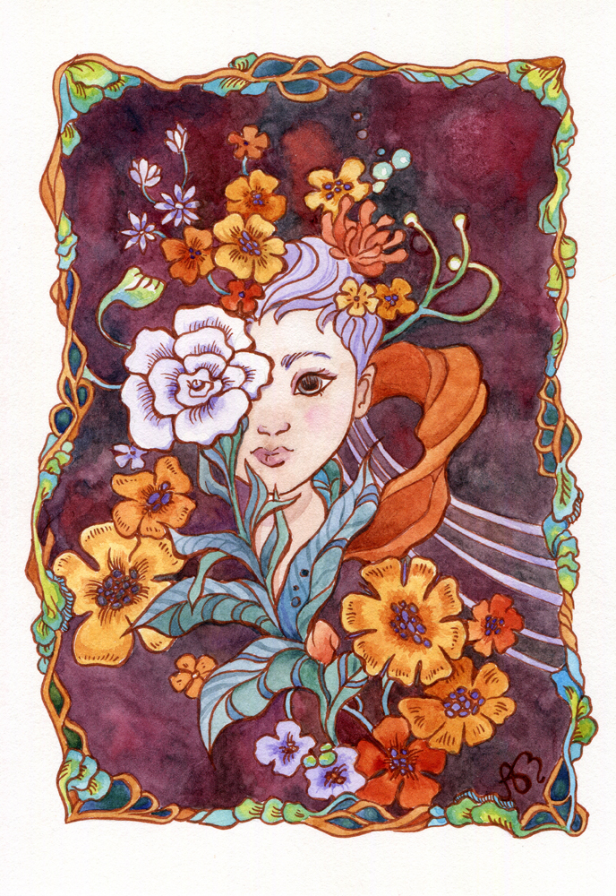 Scanned version of watercolor piece by Ania Mohrbacher of a girl with flowers.