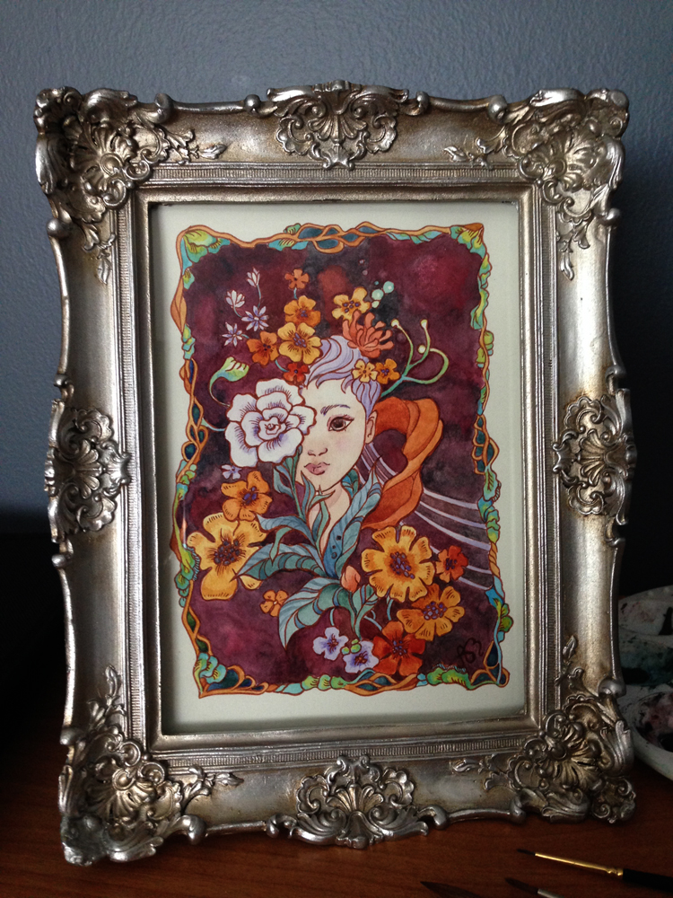 Watercolor piece by Ania Mohrbacher of a girl with flowers.