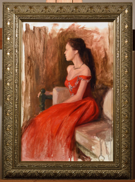 painting of a woman in a red gown