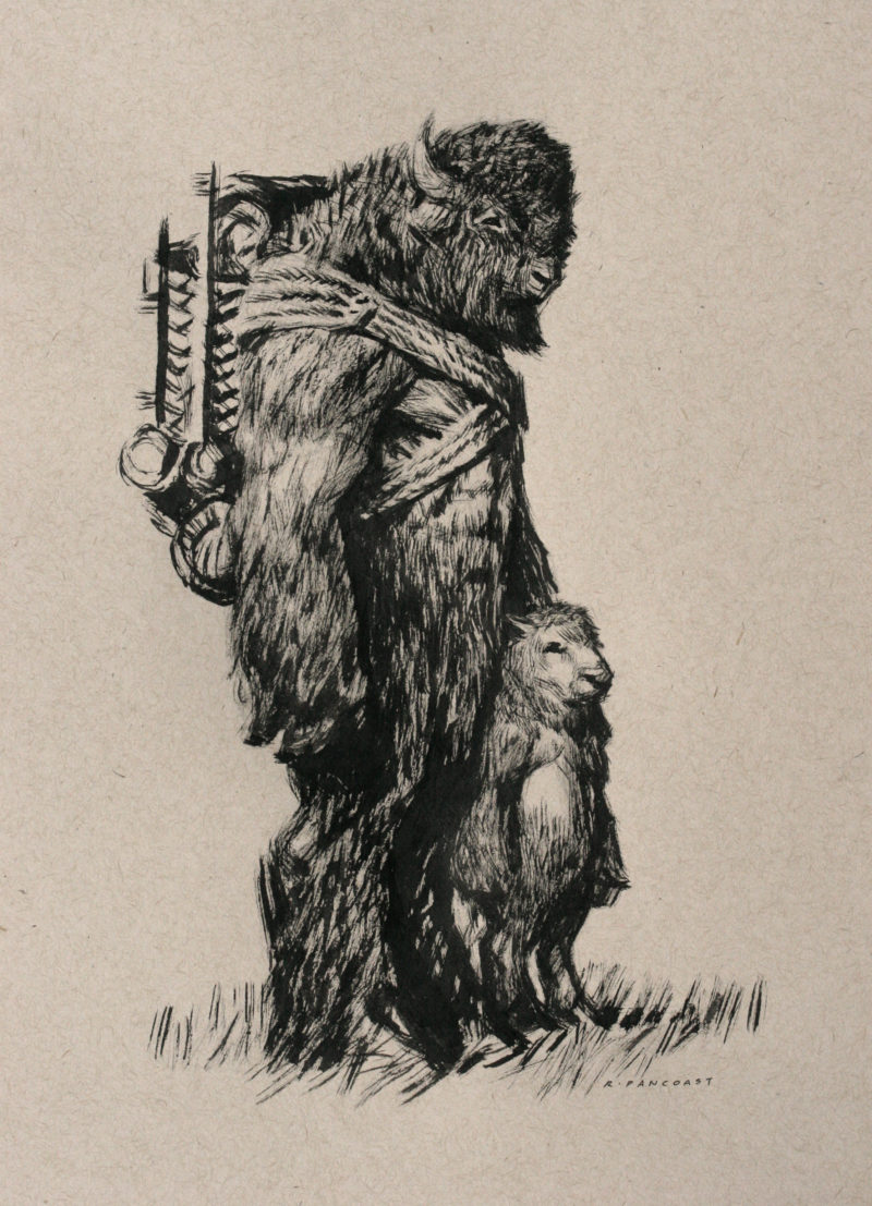 A drawing of a fantasy bison man and his child by Ryan Pancoast