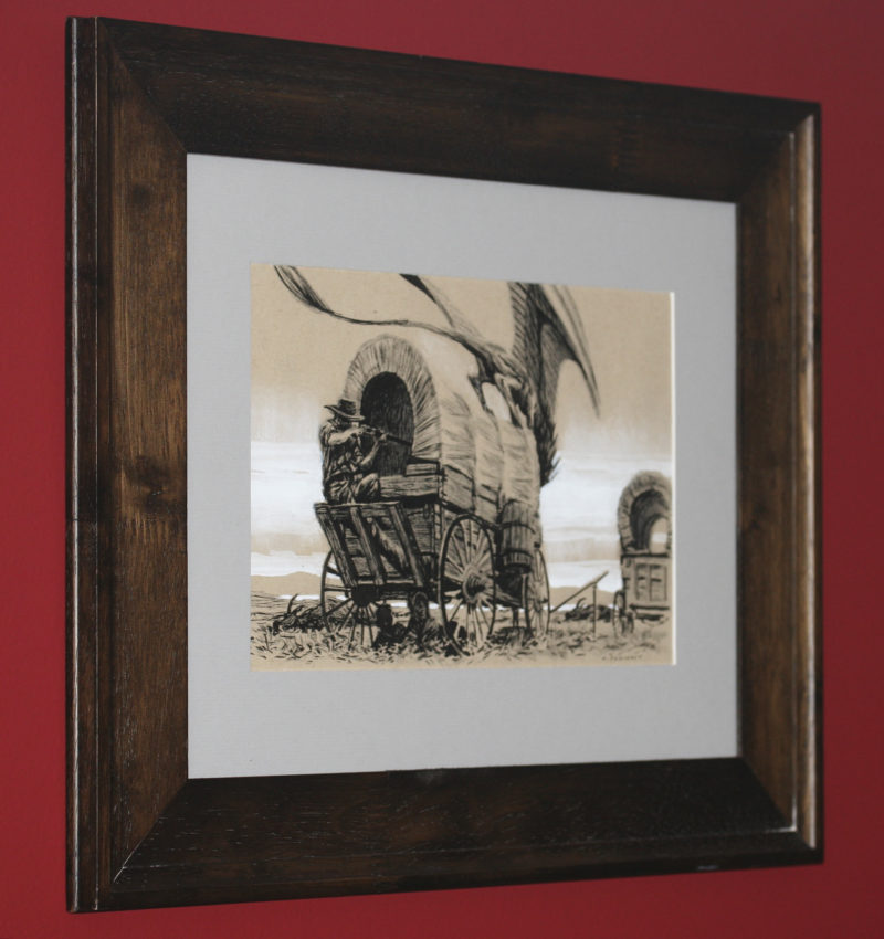 An ink drawing of a dragon and a wagon train by Ryan Pancoast.