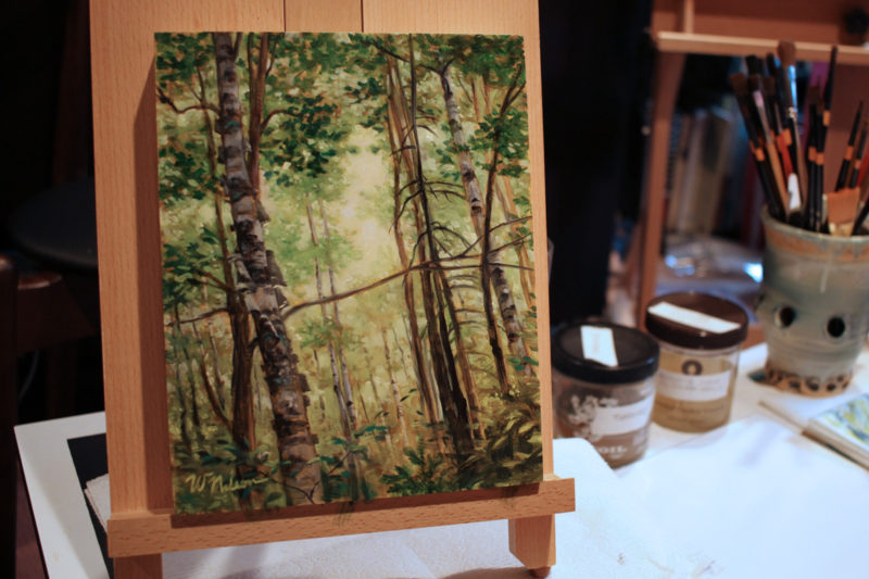 oil painting by Winona Nelson on easel