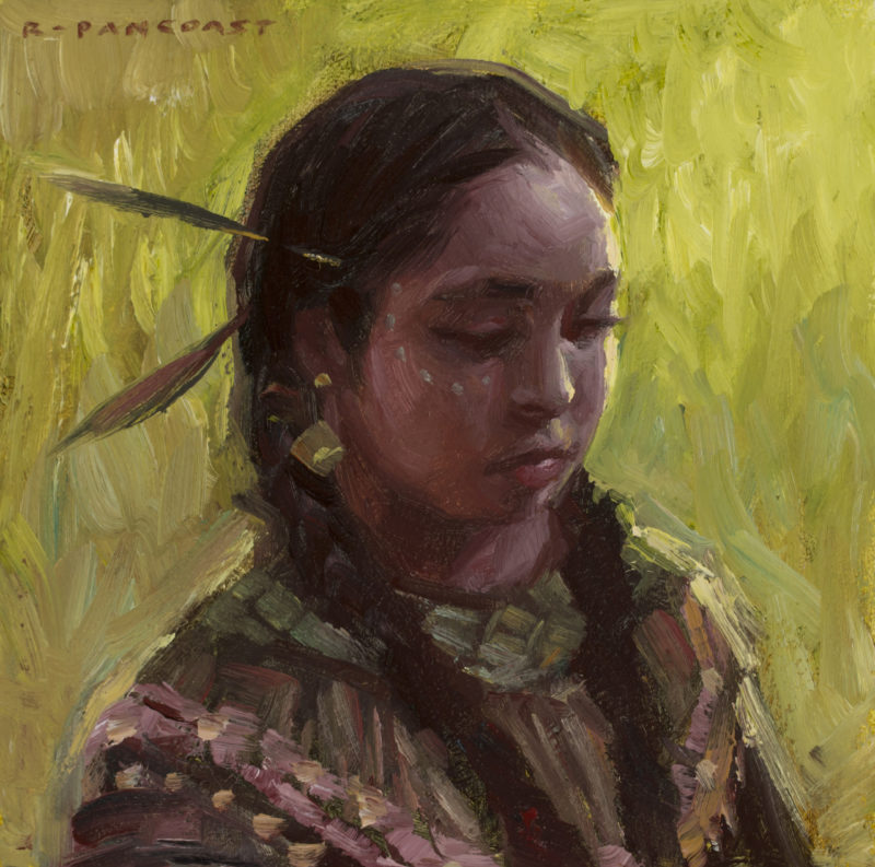 A painting of a native american child by Ryan Pancoast