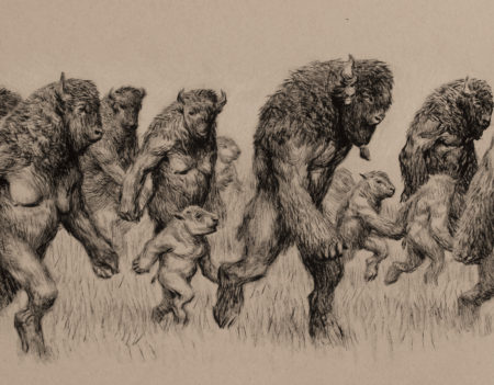 "This is an ink drawing of ""hoof-men"" by Ryan Pancoast"