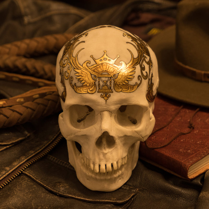 A gilded skull by Rhonda Libbey.