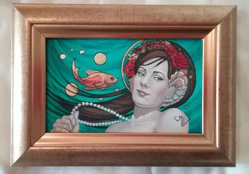 Mermaid with Flowers, oil and gold leaf painting