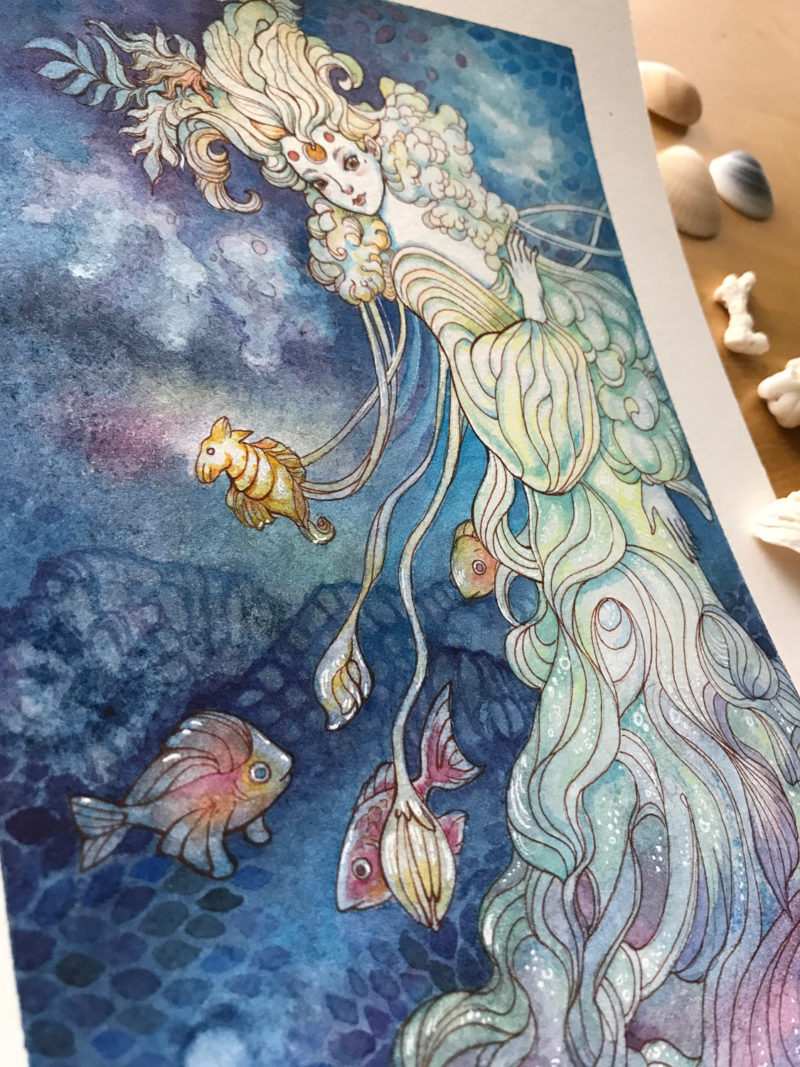 Ink and watercolor painting by Ania Mohrbacher of a woman with fish