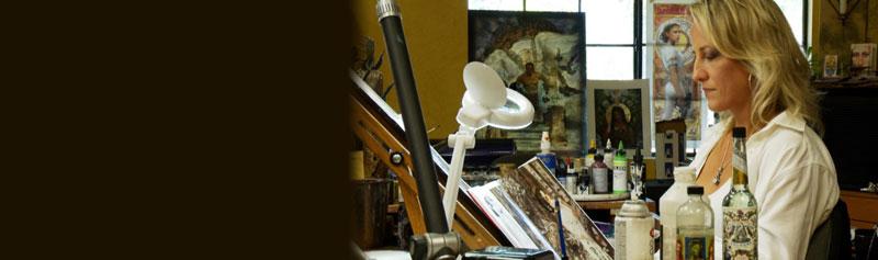 Terese Nielsen, artist in her studio