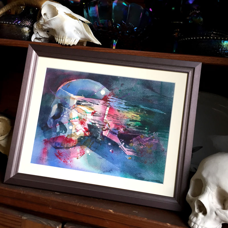 dark art watercolor of woman's face and skull