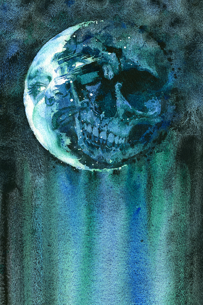 """Lunar Lurker,"" watercolor on paper of a face and skull in the moon."
