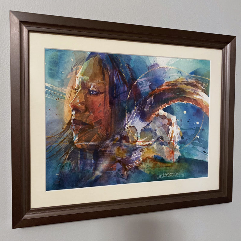 Subconscious II, Dark art portrait of a woman with a goat skull in watercolor, Framed view