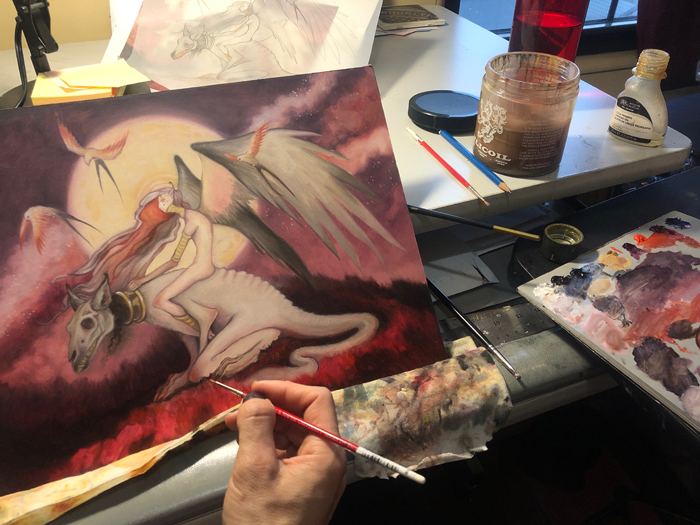 painting in progress, original drawing can be seen at the top