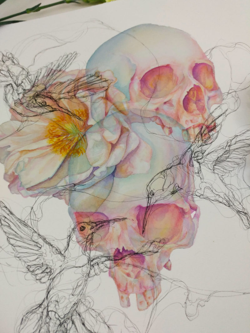 Watercolor painting of skulls and a peony flower with ink hummingbirds.
