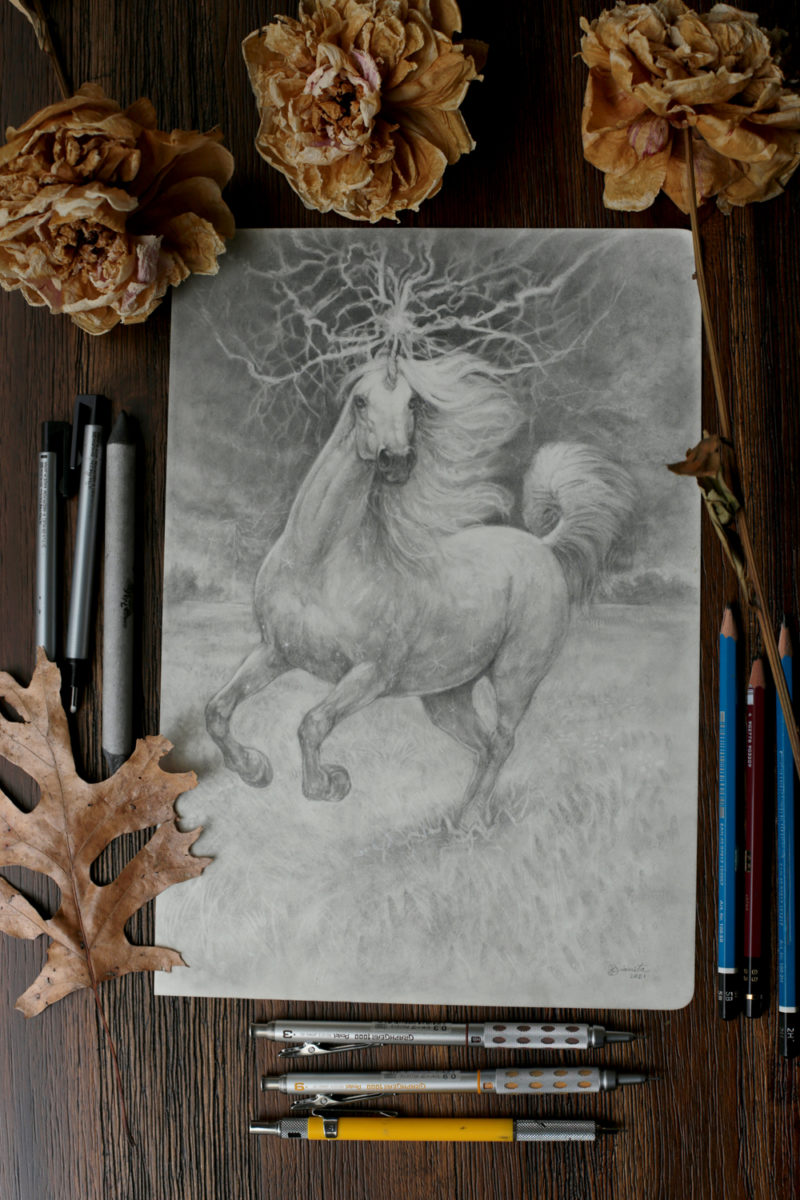 Drawing of an unicorn with lightning through his horn