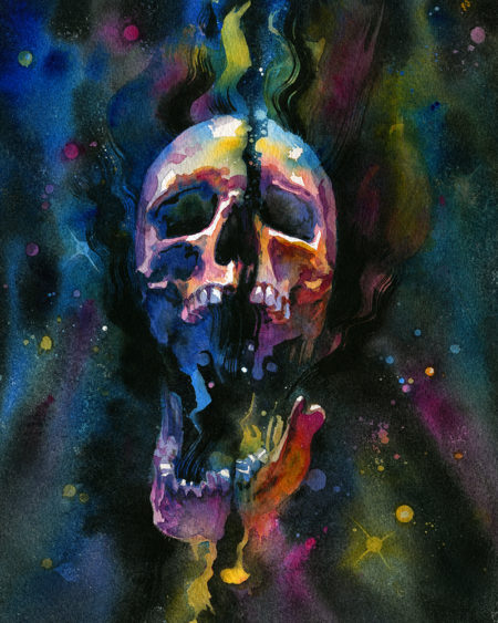 Star Stuff, a watercolor painting of a screaming skull in a galaxy in bright colors