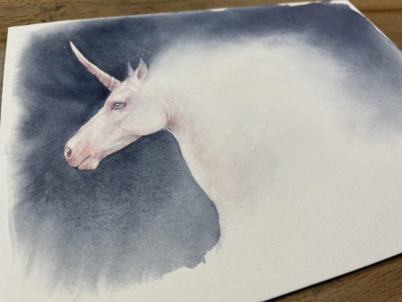 Unicorn painting photograph at an angle