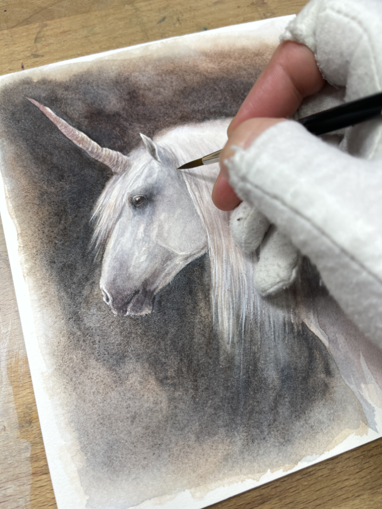 Unicorn being painted